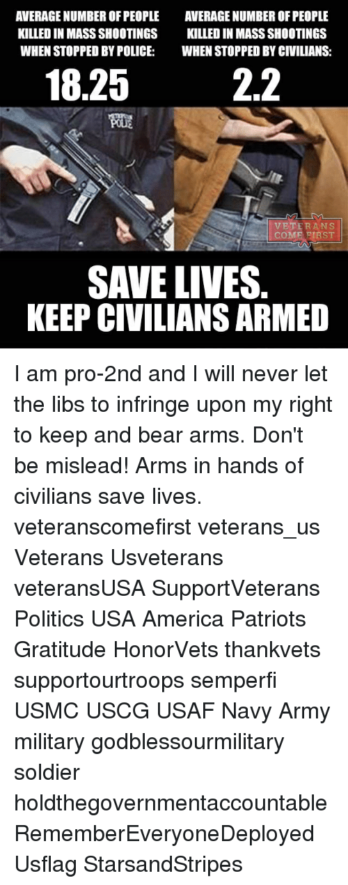 Averagers: AVERAGE NUMBER OF PEOPLE  AVERAGE NUMBER OF PEOPLE  KILLEDIN MASS SHOOTINGS  KILLED IN MASS SHOOTINGS  WHENSTOPPED BY POLICE  WHEN STOPPED BY CIVILIANS  22  18.25  VETERANS  COME FIRST  SAVE LIVES  KEEP CIVILIANS ARMED I am pro-2nd and I will never let the libs to infringe upon my right to keep and bear arms. Don't be mislead! Arms in hands of civilians save lives. veteranscomefirst veterans_us Veterans Usveterans veteransUSA SupportVeterans Politics USA America Patriots Gratitude HonorVets thankvets supportourtroops semperfi USMC USCG USAF Navy Army military godblessourmilitary soldier holdthegovernmentaccountable RememberEveryoneDeployed Usflag StarsandStripes