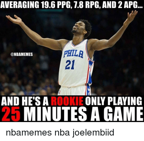 Basketball, Nba, and Sports: AVERAGING 19.6 PPG, 1.8 RPG, AND 2APG  PHILA  @NBAMEMES  AND HE'S A  ROOKIE  ONLY PLAYING  MINUTESA GAME nbamemes nba joelembiid