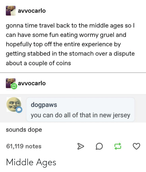 middle ages: avvocarlo  gonna time travel back to the middle ages so I  can have some fun eating wormy gruel and  hopefully top off the entire experience by  getting stabbed in the stomach over a dispute  about a couple of coins  avvocarlo  dogpaws  you can do all of that in new jersey  sounds dope  61,119 notes Middle Ages