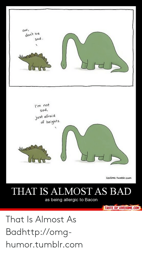 Afraid Of Heights: aw,  don't be  sad.  I'm not  sad,  just afraid  of heights.  hes  lizclimo. tumblr.com  THAT IS ALMOST AS BAD  as being allergic to Bacon  TASTE OF AWESOME.COM That Is Almost As Badhttp://omg-humor.tumblr.com