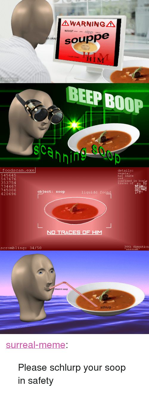 """34 50: AWARNINGA  aSO  h okay  souppe  559303011  BEEP BOOP  scannin  foodscan.exe  545645  567676  353754  734467  745006  420696  details:  vegetal  has leafe  red  confined in bowle  traces of  object: soop  liquidd foond  O TRACES OF H  34th dimention  scrombling: 34/50  hhmmm soop  schlurp <p><a href=""""https://surreal-meme.tumblr.com/post/166565239874/please-schlurp-your-soop-in-safety"""" class=""""tumblr_blog"""">surreal-meme</a>:</p>  <blockquote><p>Please schlurp your soop in safety</p></blockquote>"""