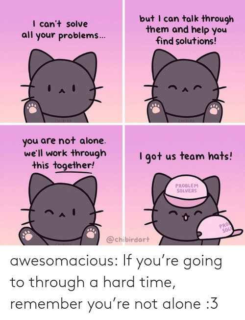 Not Alone: awesomacious:  If you're going to through a hard time, remember you're not alone :3