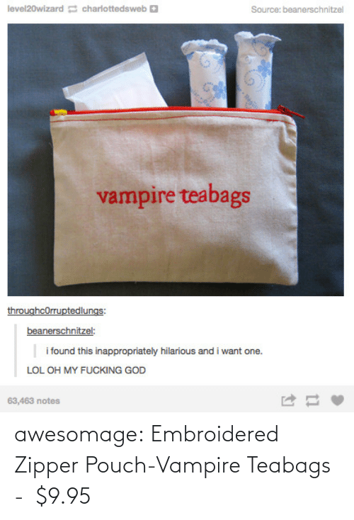 Tumblr, Blog, and Vampire: awesomage:  Embroidered Zipper Pouch-Vampire Teabags -   $9.95