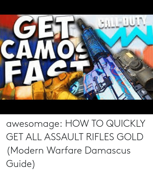 modern warfare: awesomage:  HOW TO QUICKLY GET ALL ASSAULT RIFLES GOLD (Modern Warfare Damascus Guide)