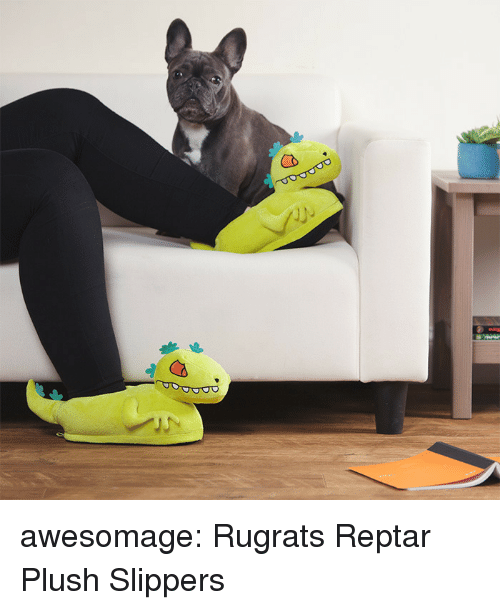 Rugrats: awesomage:  Rugrats Reptar Plush Slippers