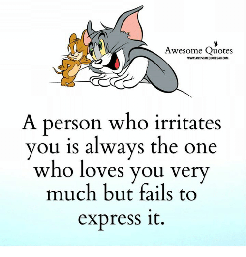 Memes, Express, and Quotes: Awesome Quotes  WWWJAWESOMEQUOTES4U.COM  A person who irritates  you is always the one  who loves you very  much but fails to  express it.