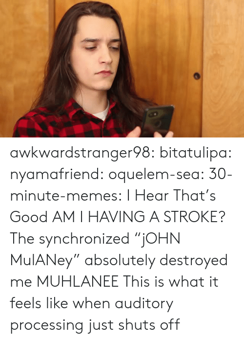 "What It Feels Like: awkwardstranger98: bitatulipa:  nyamafriend:   oquelem-sea:  30-minute-memes: I Hear That's Good  AM I HAVING A STROKE?  The synchronized ""jOHN MulANey"" absolutely destroyed me   MUHLANEE   This is what it feels like when auditory processing just shuts off"
