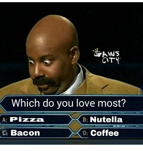 cty: AWS  CTY  Which do you love most?  A: Pizza  B: Nutella  BaconDCoffee