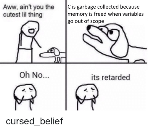 scope: Aww, ain't you the C is garbage collected because  cutest lil thing  memory is freed when variables  go out of scope  Oh No...  its retarded cursed_belief
