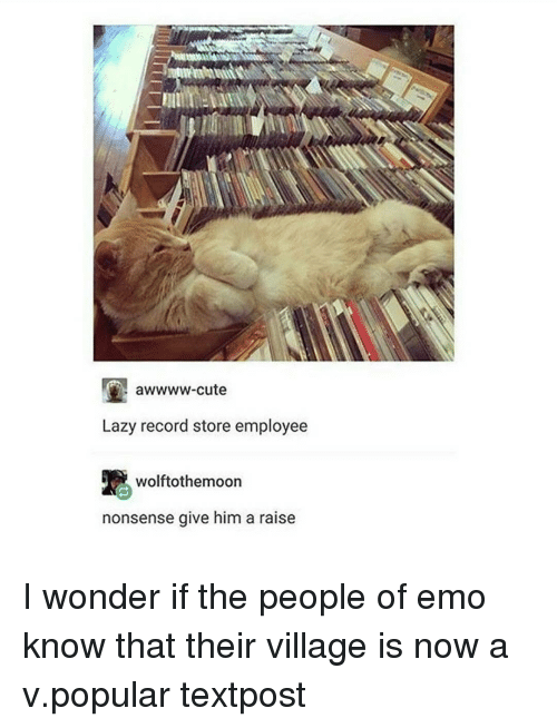 record store: awwww-cute  Lazy record store employee  wolftothemoon  nonsense give him a raise I wonder if the people of emo know that their village is now a v.popular textpost