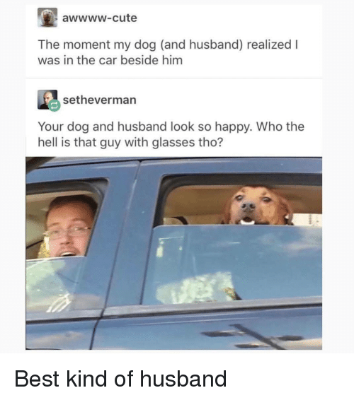 Cute, Best, and Glasses: awwww-cute  The moment my dog (and husband) realized I  was in the car beside him  setheverman  Your dog and husband look so happy. Who the  hell is that guy with glasses tho? <p>Best kind of husband</p>