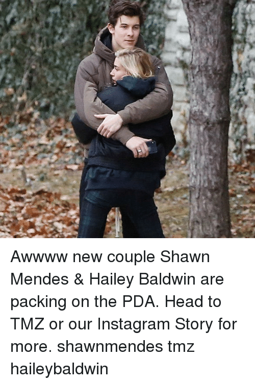 Head, Instagram, and Memes: Awwww new couple Shawn Mendes & Hailey Baldwin are packing on the PDA. Head to TMZ or our Instagram Story for more. shawnmendes tmz haileybaldwin