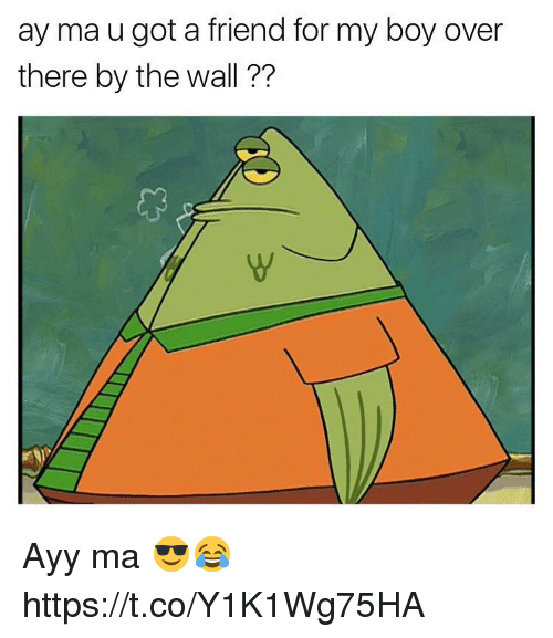 Memes, Boy, and 🤖: ay ma u got a friend for my boy over  there by the wall ?? Ayy ma 😎😂 https://t.co/Y1K1Wg75HA