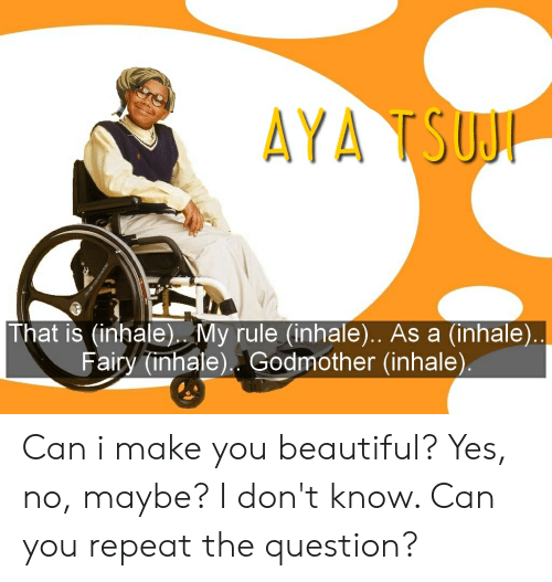 yes no maybe: AYA TSUJI  That is (inhale). My rule (inhale).. As a (inhale)..  Fairy (inhale) Godmother (inhale). Can i make you beautiful? Yes, no, maybe? I don't know. Can you repeat the question?