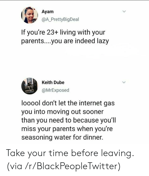 Seasoning: Ayam  @A_PrettyBigDeal  If you're 23+ living with your  parent....you are indeed lazy  Keith Dube  @MrExposed  looool don't let the internet gas  you into moving out sooner  than you need to because you'l  miss your parents when you're  seasoning water for dinner. Take your time before leaving. (via /r/BlackPeopleTwitter)