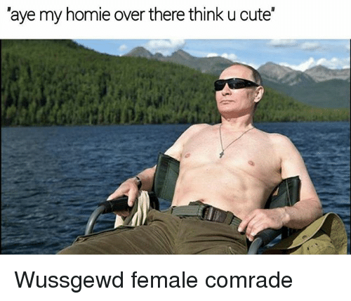 Ayees: 'aye my homie over there think u cute Wussgewd female comrade
