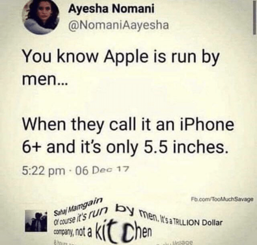 sha: Ayesha Nomani  @NomaniAayesha  You know Apple is run by  men...  When they call it an iPhone  6+ and it's only 5.5 inches.  5:22 pm 06 Dec 17  Sha Mamgain  Of course it's r men. It's TRILL ION Dollar  Fb.com/fooMuchSavage  Chen  uesage