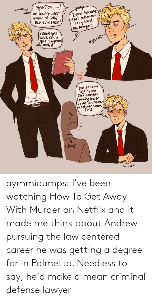 Murder: aymmidumps: I've been watching How To Get Away With Murder on Netflix and it made me  think about Andrew pursuing the law centered career he was getting a  degree for in Palmetto. Needless to say, he'd make a mean criminal  defense lawyer