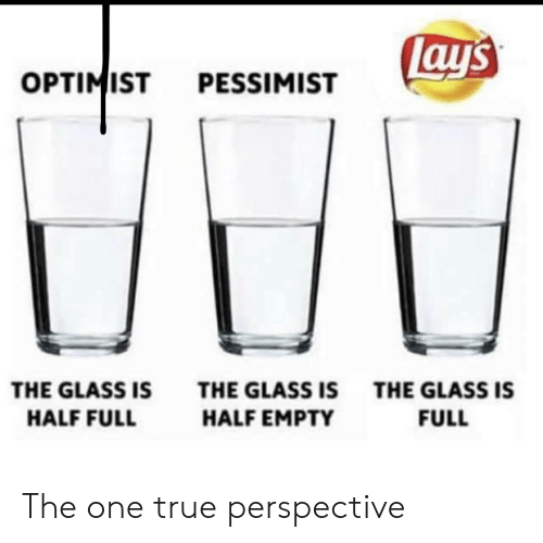 Ays: ay's  OPTIMIST  PESSIMIST  THE GLASS IS  THE GLASS ISTHE GLASS IS  HALF FULL  HALF EMPTY  FULL The one true perspective