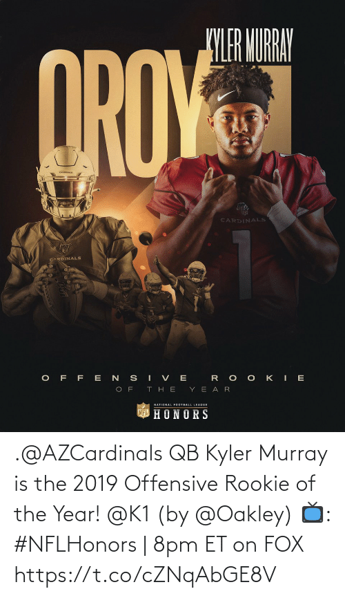 Rookie: .@AZCardinals QB Kyler Murray is the 2019 Offensive Rookie of the Year! @K1 (by @Oakley)  📺: #NFLHonors | 8pm ET on FOX https://t.co/cZNqAbGE8V