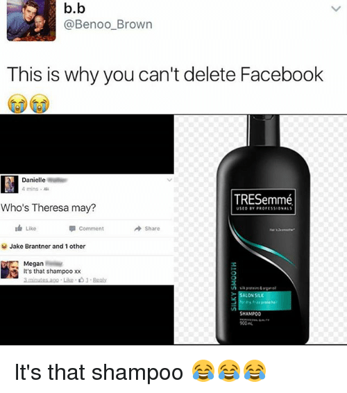 Memes, 🤖, and Silk: b.b  @Benoo Brown  This is why you can't delete Facebook  Danielle  4 mins  TRESemme.  Who's Theresa may?  Like  Comment  A share  H Jake Brantner and 1 other  Megan  It's that shampoo xx  3 minutes ago Like 1.  ALON  SILK  SHAMPOO It's that shampoo 😂😂😂