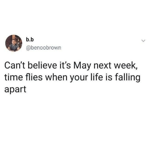 time flies: b.b  @benoobrown  Can't believe it's May next week,  time flies when your life is falling  apart