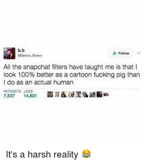 Anaconda, Fucking, and Memes: b,b  Follow  aBeroo Brown  All the snapchat filters have taught me is that l  look 100% better as a cartoon fucking pig than  I do as an actual human  RETWEETS UKES  7,537 14,921 It's a harsh reality 😂
