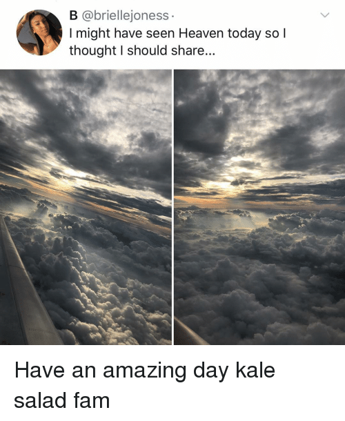 Kale: B @briellejoness  I might have seen Heaven today so l  thought I should share... Have an amazing day kale salad fam