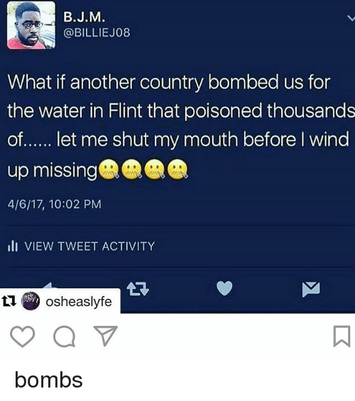 Memes, Water, and 🤖: B.J.M  @BILLIE J08  What if another country bombed us for  the water in Flint that poisoned thousands  of  let me shut my mouth before wind  up missing  4/6/17, 10:02 PM  III VIEW TWEET ACTIVITY  Osheaslyfe bombs