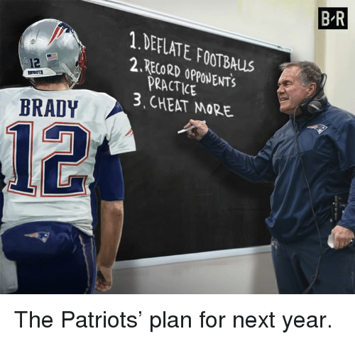 Patriotic, Brady, and Next: B-R  1 DEFLATE FOOTBAus  2RECORD OPPONENTS  PRACTICE  3 CHEAT MORE  BRADY  12 The Patriots' plan for next year.