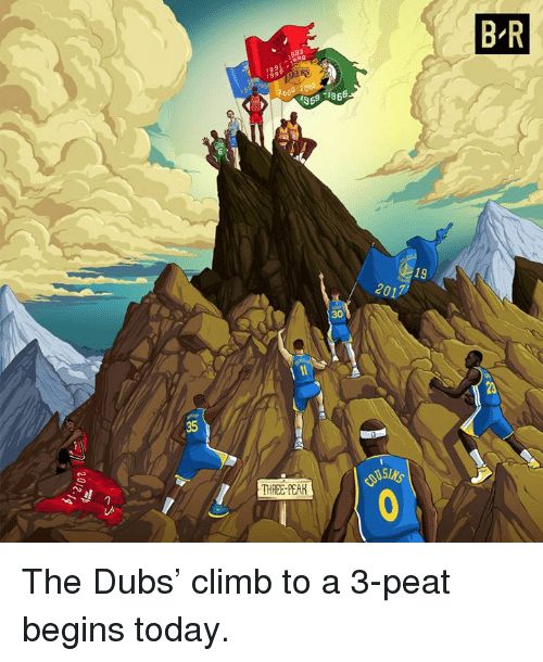 3 peat: B R  1991 : i988  19  2017  30  23  35  THREE-PEAR The Dubs' climb to a 3-peat begins today.