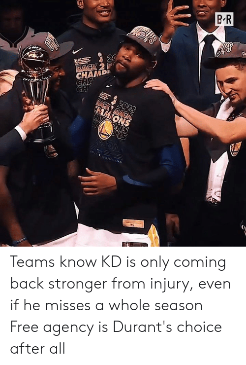 rack: B R  20  RACK 2P  CHAMD  CHA  2018  BCK BACK  CHAMIONS  PNS  ( T AR ORE  35 Teams know KD is only coming back stronger from injury, even if he misses a whole season  Free agency is Durant's choice after all