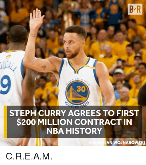 Bailey Jay, Nba, and Sports: B R  30  STEPH CURRY AGREES TO FIRST  $200 MILLION CONTRACT IN  NBA HISTORY  AN WOJNAROWSKI C.R.E.A.M.