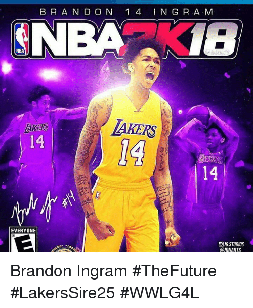 Los Angeles Lakers, Memes, and Brandon Ingram: B R A N D O N 1 4 ING R A M  NBA18  LAKERS  AKERS  14  14  EVERYONE  回JG.STUDIOS  @IDNARTS Brandon Ingram #TheFuture  #LakersSire25 #WWLG4L