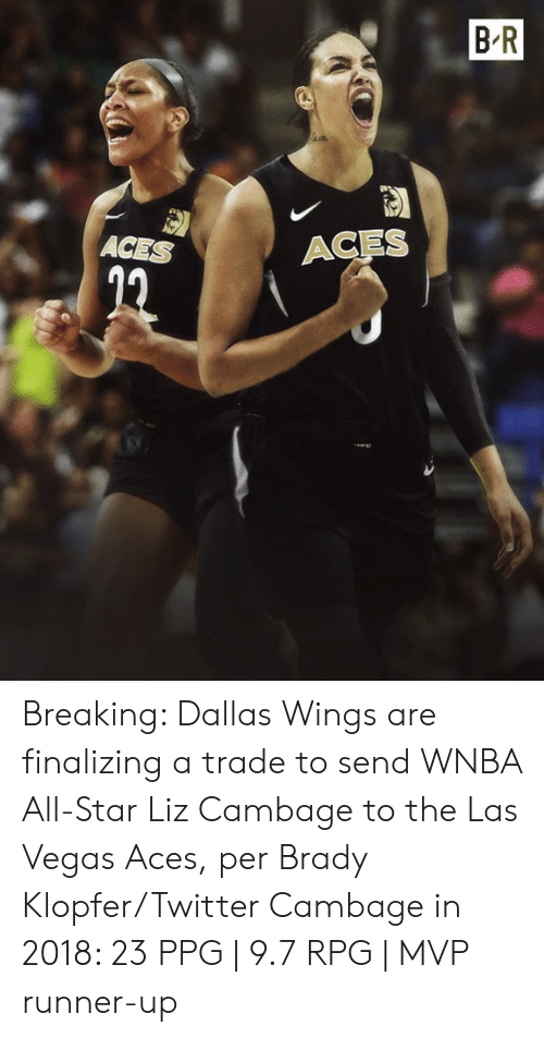 aces: B R  ACES  ACES Breaking: Dallas Wings are finalizing a trade to send WNBA All-Star Liz Cambage to the Las Vegas Aces, per Brady Klopfer/Twitter  Cambage in 2018: 23 PPG | 9.7 RPG | MVP runner-up