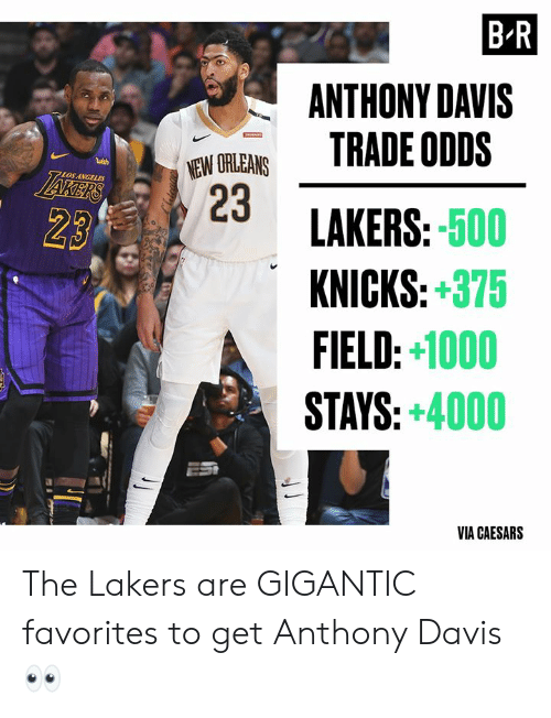 Anthony Davis: B-R  ANTHONY DAVIS  TRADE ODDS  NEW ORLEANS  23  wish  LAKERS  7LOS ANGELES  LAKERS:-500  KNICKS:+375  FIELD:+1000  STAYS:+4000  23  VIA CAESARS The Lakers are GIGANTIC favorites to get Anthony Davis 👀