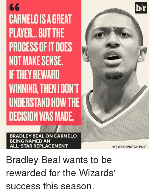 bradley beal: b/r  CARMELOIS A GREAT  PLAYER... BUTTHE  PROCESS OF IT DOES  NOT MAKE SENSE  IF THEY REWARD  WINNING, THENIDONT  UNDERSTAND HOW THE  DECISION WAS MADE  BRADLEY BEAL ON CARMELO  BEING NAMED AN  ALL-STAR REPLACEMENT  H/T WASHINGTON POST Bradley Beal wants to be rewarded for the Wizards' success this season.