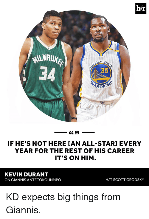 All Star, Kevin Durant, and Sports: b/r  EN ST  35  ARRI  66 99  IF HE'S NOT HERE IAN ALL-STAR] EVERY  YEAR FOR THE REST OF HIS CAREER  IT'S ON HIM  KEVIN DURANT  HIT SCOTT GRODSKY  ON GIANNIS ANTETOKOUNMPO KD expects big things from Giannis.