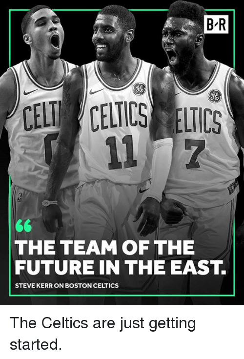 Boston Celtics: B-R  gO  So  CELT CELICS ELICS  THE TEAM OF THE  FUTURE IN THE EAST.  STEVE KERR ON BOSTON CELTICS The Celtics are just getting started.
