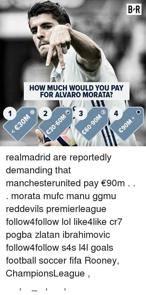 Fifa, Football, and Goals: B-R  HOW MUCH WOULD YOU PAY  FOR ALVRO MORATA?  2  3  4  レ realmadrid are reportedly demanding that manchesterunited pay €90m . . . morata mufc manu ggmu reddevils premierleague follow4follow lol like4like cr7 pogba zlatan ibrahimovic follow4follow s4s l4l goals football soccer fifa Rooney, ChampionsLeague , ميسي , رونالدو , ريال_مدريد , برشلونة