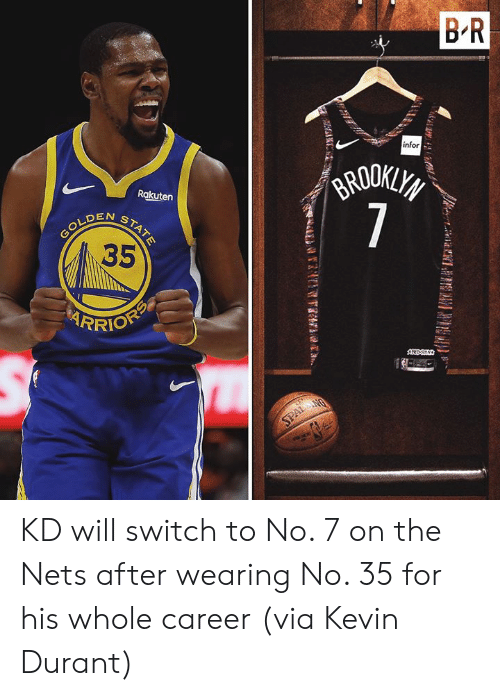 rakuten: B R  infor  GRODKLYS  7  Rakuten  N  GOLDENSTATE  35  RRIOFP  AREDS  SPALANG KD will switch to No. 7 on the Nets after wearing No. 35 for his whole career  (via Kevin Durant)