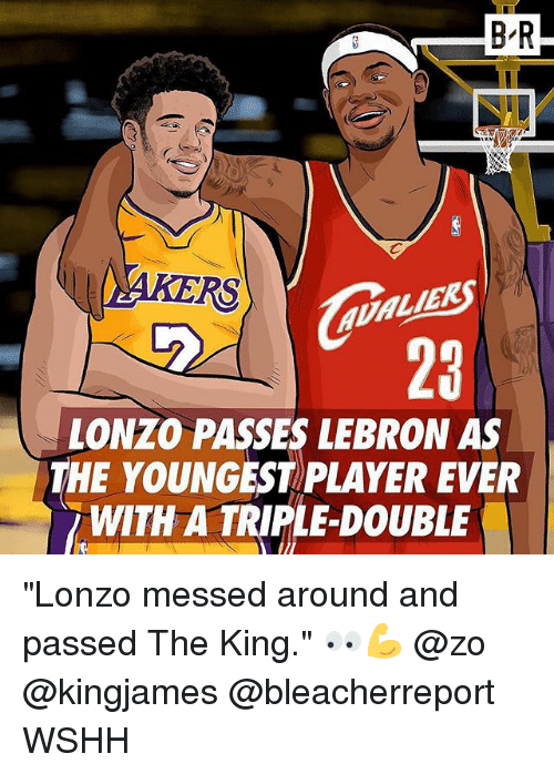 "a triple double: B-R  RS  LIE  MEK  23  LONZO PASSES LEBRON AS  THE YOUNGEST PLAYER EVER  WITH A TRIPLE-DOUBLE ""Lonzo messed around and passed The King."" 👀💪 @zo @kingjames @bleacherreport WSHH"