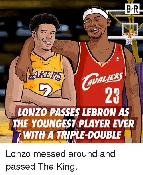 Liek: B-R  RS  LIEK  23  LONZO PASSES LEBRON AS  THE YOUNGEST PLAYER EVER  WITH A TRIPLE-DOUBLE Lonzo messed around and passed The King.