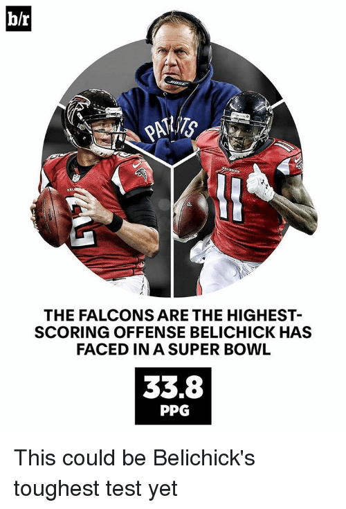 Sports, Belichick, and Ppg: b/r  THE FALCONS ARE THE HIGHEST  SCORING OFFENSE BELICHICK HAS  FACED IN A SUPER BOWL  33.8  PPG This could be Belichick's toughest test yet