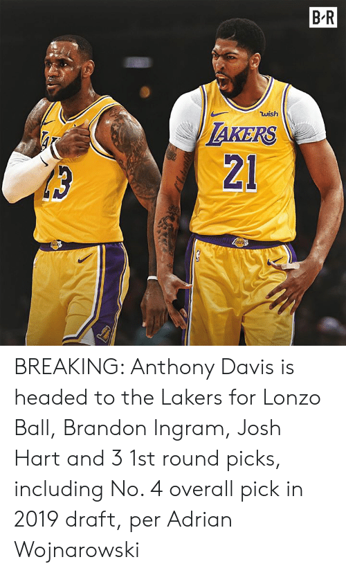 Lonzo Ball: B.R  wish  AKERS  21 BREAKING: Anthony Davis is headed to the Lakers for Lonzo Ball, Brandon Ingram, Josh Hart and 3 1st round picks, including No. 4 overall pick in 2019 draft, per Adrian Wojnarowski