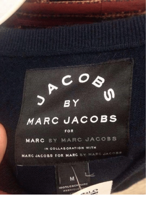Marc Jacobs: B Y  FOR  MARC BY MARC JACOBS  MARC JACOBS FOR MARC Y MARC JACOSS  100% CACHIMIE