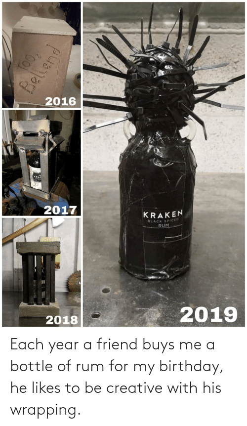 rum: BA17  2016  KRAK  2017  KRAKEN  BLACK SPICED  RUM  2019  2018  TOO,  Bellend Each year a friend buys me a bottle of rum for my birthday, he likes to be creative with his wrapping.