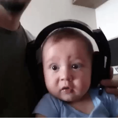 death metal: Baby listens to death metal for the first time.