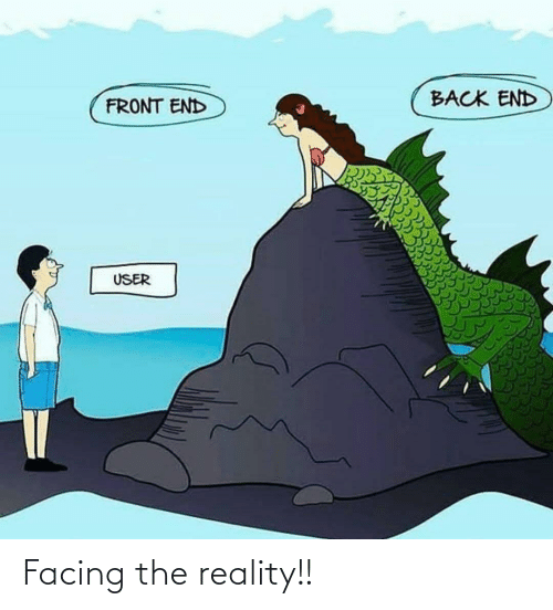 user: BACK END  FRONT END  USER Facing the reality!!