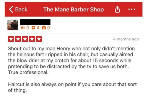 Barber Shop: Back  KBack The Mane Barber Shop  The Mane Barber Shop  4 months ago  Shout out to my man Henry who not only didn't mention  the heinous fart l ripped in his chair, but casually aimed  the blow drier at my crotch for about 15 seconds while  pretending to be distracted by the tv to save us both.  True professional  Haircut is also always on point if you care about that sort  of thing.